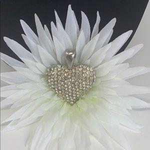 💛 Huge Faux Diamond Heart Necklace Pendant